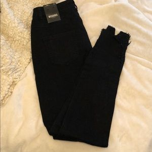 Black high wasted mild distressing jeans